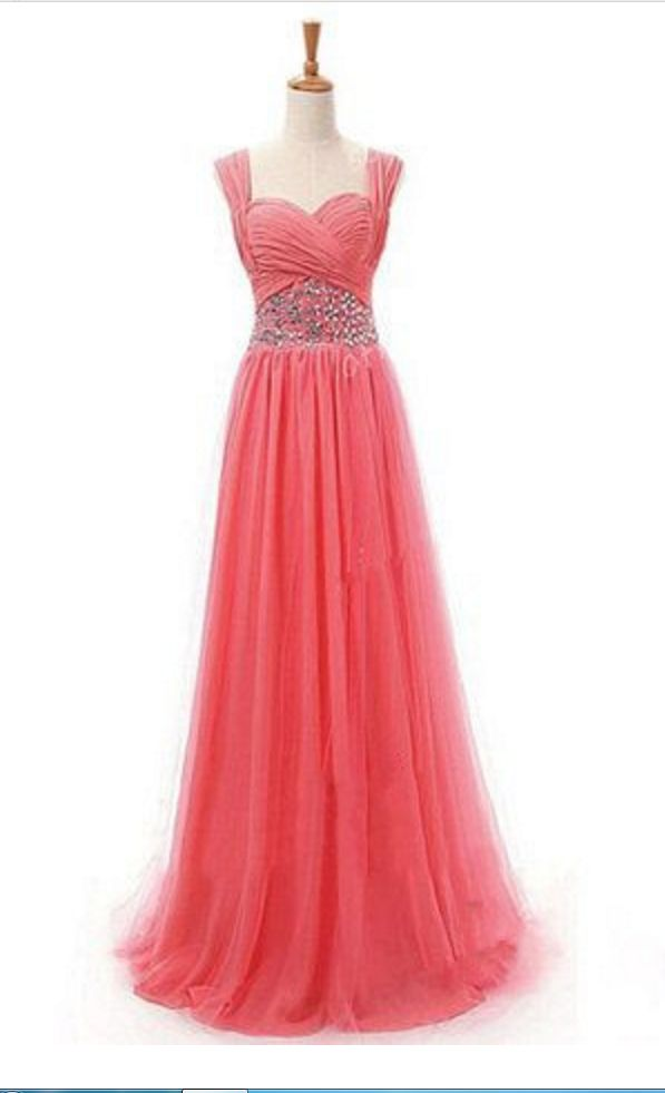 Coral Prom Dresses,Sparkly Prom Dress,Sparkle Prom Gown,Bling Prom