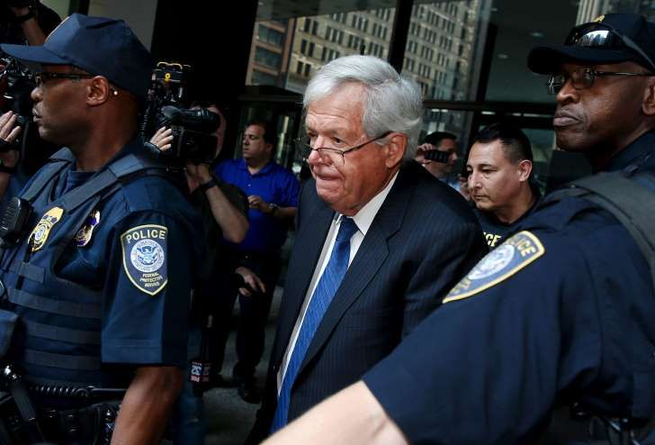 Former U.S. House of Representatives Speaker Dennis Hastert is surrounded by officers as he leaves federal court after pleading not guilty to federal charges of trying to hide large cash transactions and lying to the FBI in Chicago, Illinois, United States, June 9, 2015. According to an indictment, Hastert, 73, was trying to evade detection of $3.5 million in payments he had promised to make to someone  from his hometown of Yorkville, Illinois, to conceal past misconduct against the person…