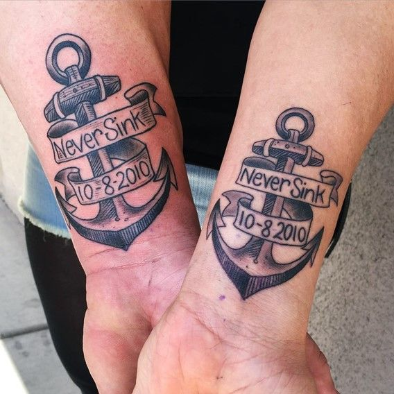 30 perfect matching his and hers tattoos anchor tattoos anchors and tattoos and body art. Black Bedroom Furniture Sets. Home Design Ideas