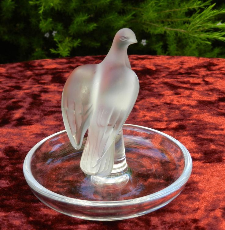 Signed Lalique France Frosted Crystal Love Bird Dove Art Glass Pin Dish #Lalique
