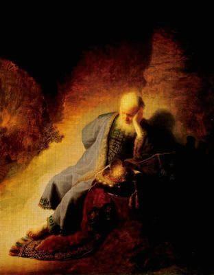 Jeremías lamenta la destrucción de Jerusalén (Jeremia treurend over de verwoesting van Jeruzalem) obra del estilo barroco del pintor holandés Harmennsz van Rijn Rembrandt, realizado en óleo sobre madera, en 1630. 58cm x 46cm. Rijksmuseum de Ámsterdam (Países Bajos). Representa a un anciano ricamente vestido sentado a los pies de una roca: al fondo se ve una ciudad destruida por un incendio. Se encuentra entristecido por la visión de Jerusalén destruida y huye del fuego cubriéndose los ojos