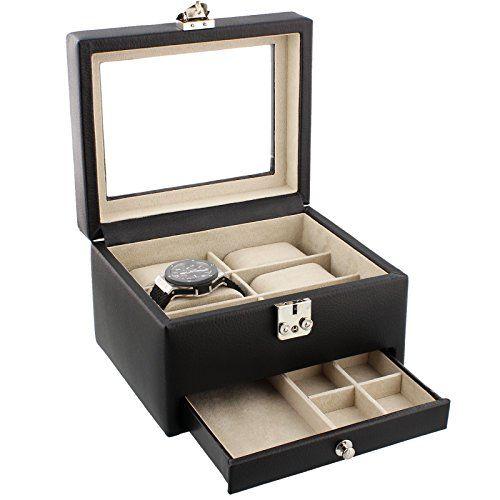 Dulwich Designs Black Leather 6 Piece Watch Box with Cufflink Drawer And Cream Lining Dulwich Designs http://www.amazon.co.uk/dp/B004FEF5NO/ref=cm_sw_r_pi_dp_byiUvb1G1FAT0