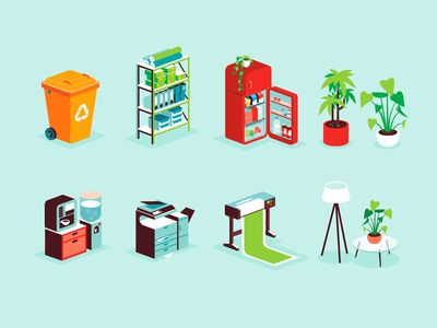 Isometric office icons