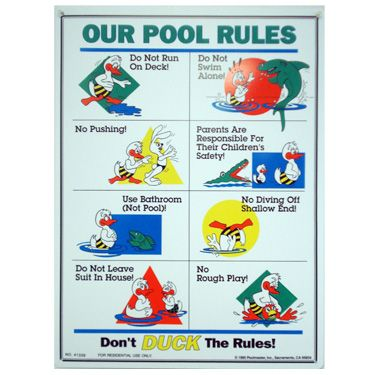 Poolmaster Duck Pool Rules Sign
