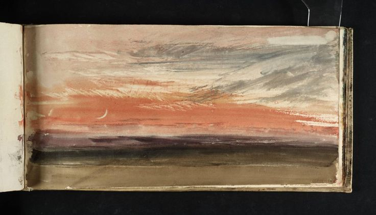 Joseph Mallord William Turner 'Red Sky and Crescent Moon', c.1818, watercolor in Skies Sketchbook http://paintwatercolorcreate.blogspot.com/2015/01/mr-turner-his-sketchbooks.html