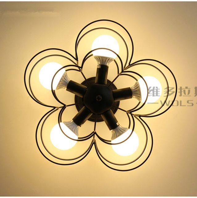 Siyah 5 Işıkları Mini Modern Çiçek Gölge Tavan Lambası Oturma Odası Balkon için Metal Yarı Gömme Montaj Avize Fikstürü Koridor