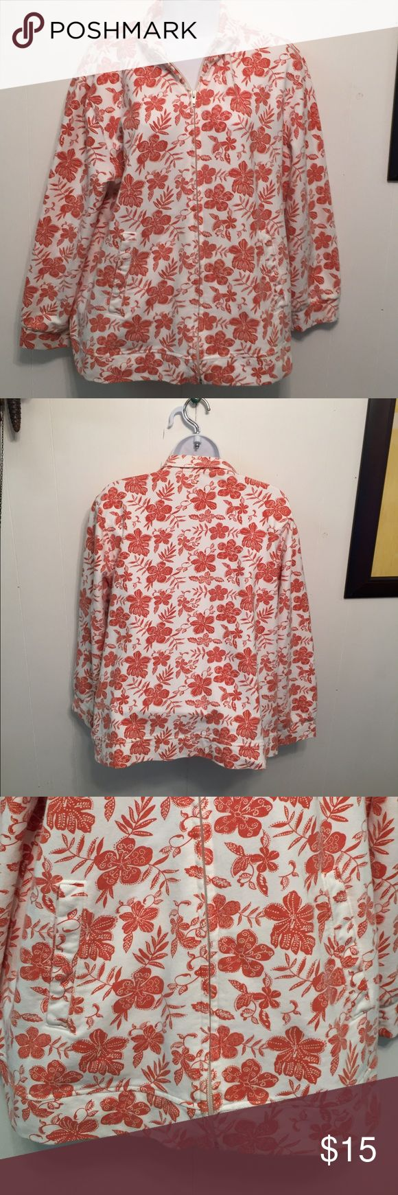 "Orvis Women's Zip Up Jacket Floral sz L Good clean condition.  Stated size L.  Bust up to 46"". Length shoulder to bottom 24 1/2"".  Banded waist, metal zipper closure.  Mock turtleneck when zipped up all the way.   Front pockets. Soft fabric. Terra cotta orange and white Orvis Jackets & Coats"