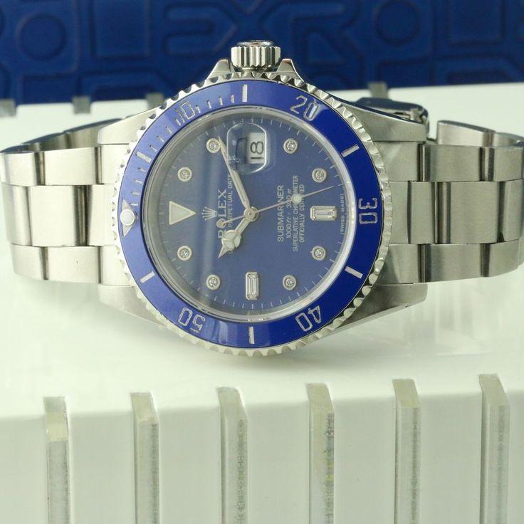Rolex Submariner Date Stainless Steel Watch Blue Dial Mens Sub 16610 Diamond #Rolex #CasualSportWatchDressFormal