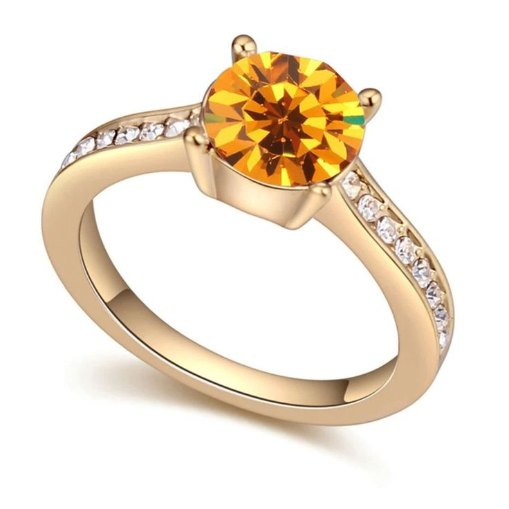 Womens Promise Engagement Wedding Bands Oval Cubic Zirconia Ring Epinki Gold Plated Ring