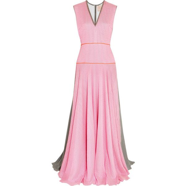Roksanda Appley striped textured silk-blend crepe gown ($760) ❤ liked on Polyvore featuring dresses, gowns, baby pink, pink evening gowns, fitted gowns, pink evening dress, zipper dress and stripe dresses