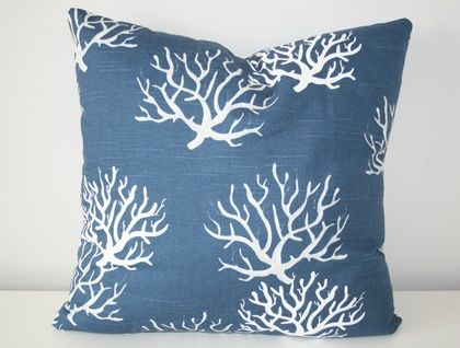 Beautiful Designer Coral Cover, Classic Navy & White with a hint of Grey.  | Felt