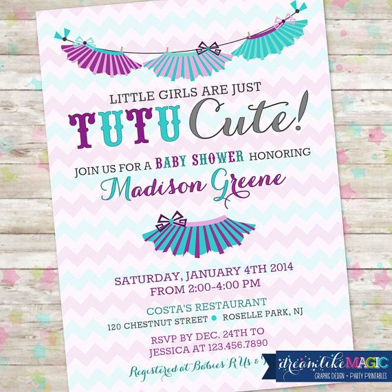 Baby Girl Shower Invitation Chevron Tutu Cute, Digital Printable Turquoise, Purple and Grey Tutus Baby Shower Invite on Etsy, $13.00