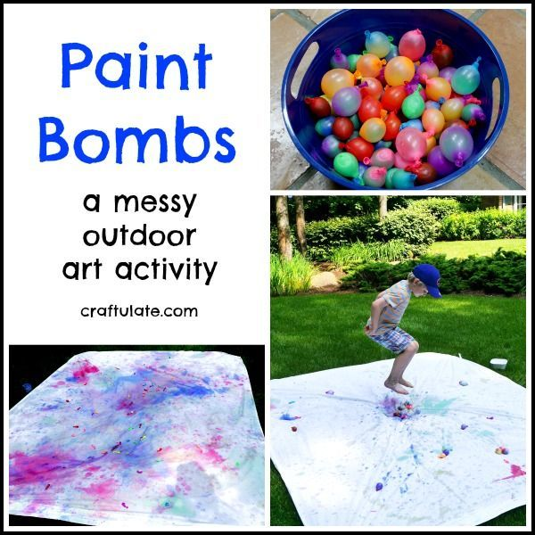Paint Bombs - a messy outdoor art activity for preschoolers and other kids