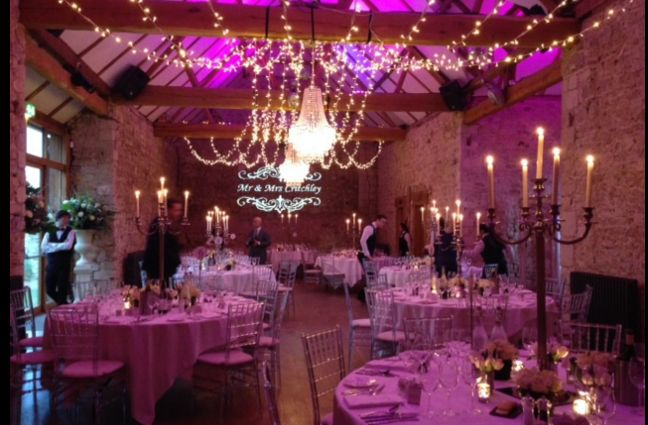 Lighting at Notley Abbey for a sparkling winter wedding in the barn