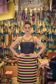 Multicolored Dress With Quilted Bodice And Nautical Stripes Skirt  Rs. 5,000