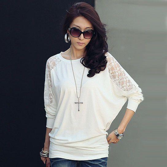 White Lace T Shirt Women T-shirt Cotton Poleras De Mujer Moda 2016 Tee Shirt Femme Casual camisetas mujer women long sleeve tops
