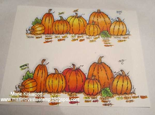 Copic Colouring: Pumpkins ~ Marie Loves to Stamp