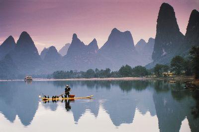 Cormorant Fishing at Dusk, Li River, Guangxi, China