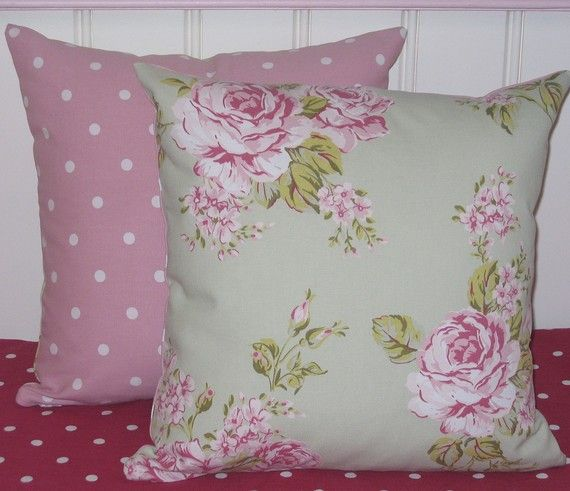 Set of Two Throw Pillow Cushion Covers 16 inch Shabby Chic Style Sage Green Flora Roses fabric backed with co-ordinating pink dotty fabric