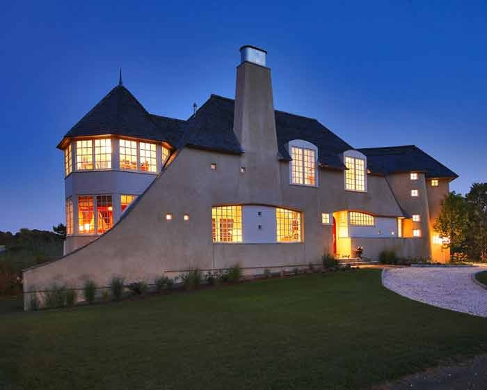 Stucco house with tapering chimney - Westport Residence - Bartels-Pagliaro Architects, LLC