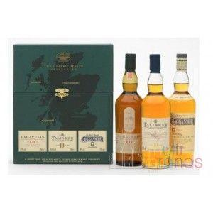 """""""ESPECIAL REGALO"""" The Classic Strong Collection""""ESPECIAL REGALO""""  Magnifica Seleccion de Whiskys de Malta compuesta de 3 botellas de 20 Cl.  1 Botella de Lagavulin 16 Years, 1 Talisker 10 Years, 1 Cragannmore 12 Years.  Ideal  para regalar a los amantes de lo exquisito. Los Mejores Whiskys de Malta.  Extraordinario estuche de lujo."""