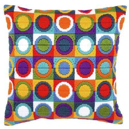 With a retro feel, this long stitch cushion panel kit is a delight to stitch and would make a funky gift for a loved one.
