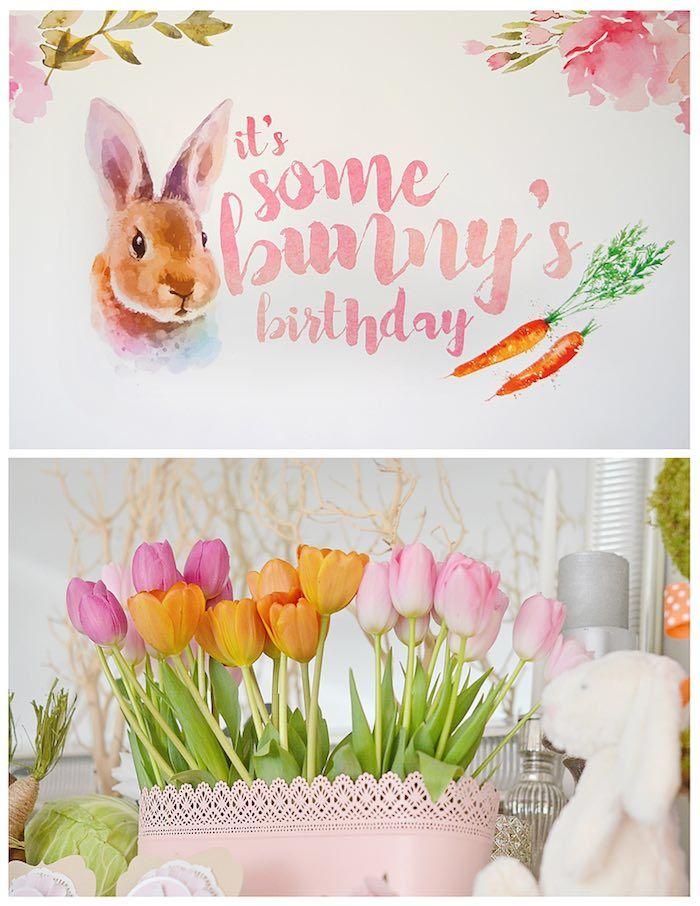 Backdrop + Tulip Arrangement from a Bunny Birthday Party via Kara's Party Ideas | KarasPartyIdeas.com (21)