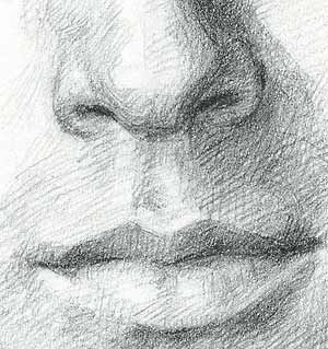 crichton close up of nose and mouth pencil drawing for line