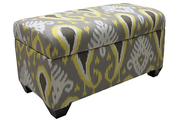 This storage bench is super sassy and functional. Michael and I are trying to sass up our 3 season porch and keep it cool with some floor to ceiling curtains for the 3 sliding glass doors. We picked out grey and bright yellow duck cloth for some vertical color blocked curtains. This would fit perfectly with room for the hammock and porch supplies. Ikat Citrine on OneKingsLane.com: Decor, Storage Ottoman, Ikat Citrine, Color, Bedrooms, Batavia Ikat, Master Bedroom, Furniture, Storage Benches