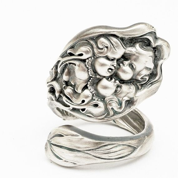 Elegant Rare Unger Art Nouveau Cupids Nosegay Sterling Spoon Ring Handcrafted in Your Size
