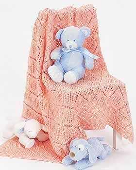 Cute little baby blanket to cradle the new arrival. Measures approximately 37-1/2 in x 45 in (95 cm x 114.5 cm). Shown in Bernat Satin knit using size 5 mm (U.S. 8) needles. free pattern