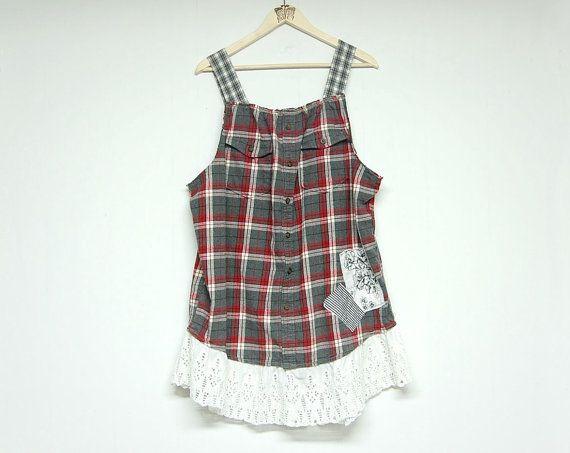 XL Flanell Boho Urban Chic Tunika, Baumwollplaid Upcycled Herrenhemd, Damen Upcycled Festival Bekleidung – clothing remake