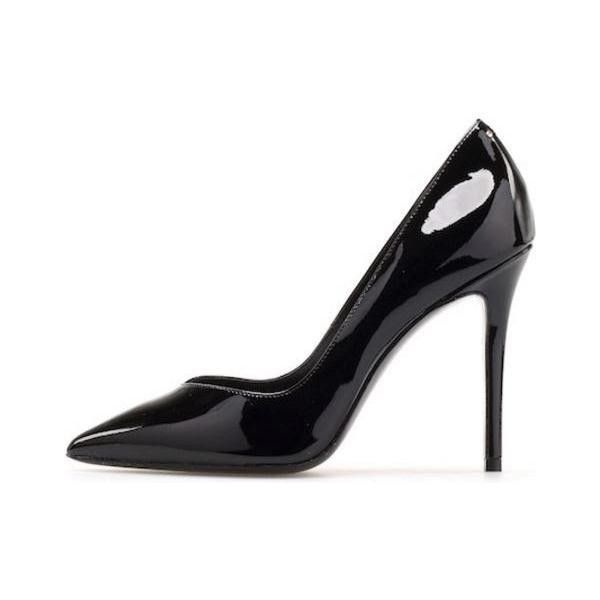 Stella Luna Indispensable Classic Pumps in Black Patent Leather ❤ liked on Polyvore featuring shoes, pumps, black pumps, black patent shoes, stella luna shoes, patent leather pumps and stella luna