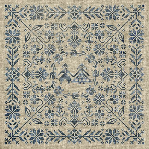 Swedish Folk Cushion Cross Stitch Pattern Instant by modernfolk, $8.50