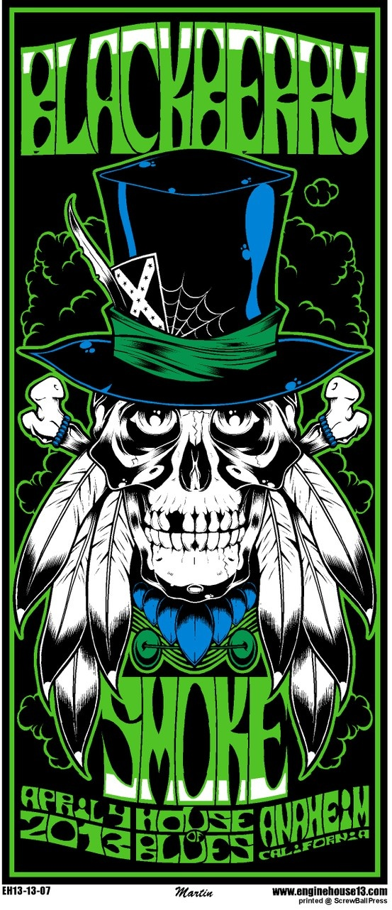 Skulls rule! So does this retro poster of Blackberry Smoke for their House of Blues Anaheim date. Get your rebel outlaw country on baby.