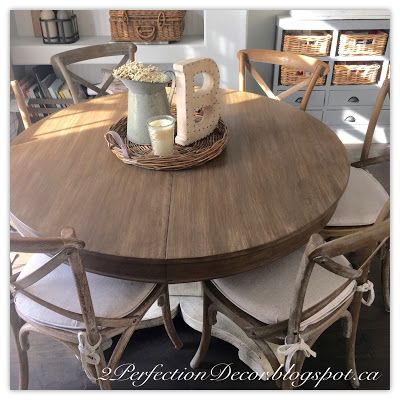 Round Kitchen Table Makeover With Restoration Hardware Style Finish To  Match RH Burnt Oak Madeleine Chairs