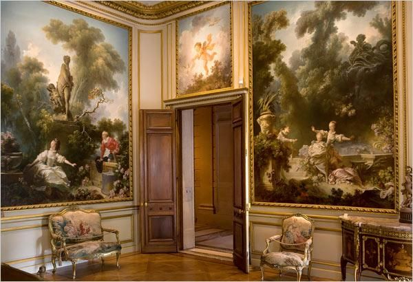 The room at Frick museum with the Fragonard's set 'Progress of Love'. Fragonard has painted these for Madame du Barry's mansion at the Louveciennes but she changed her mind later and send them back to Fragonard.