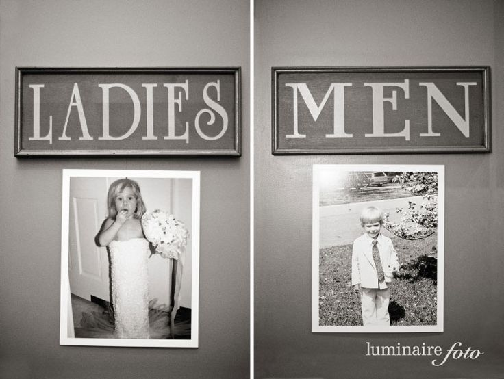 Put old pics of bride and groom on the bathroom door at the wedding! lustige idee :)