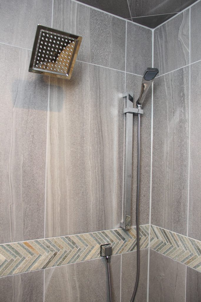 Grey Tile Shower Green Glass Tiles Of Accent Wall With Images