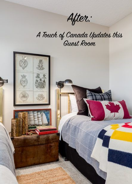 Twin bedroom makeover done with wall-mounted pharmacy lamp, Hudson Bay blanket, Martha Sturdy brass candle holders and Canadian Flag Cushion