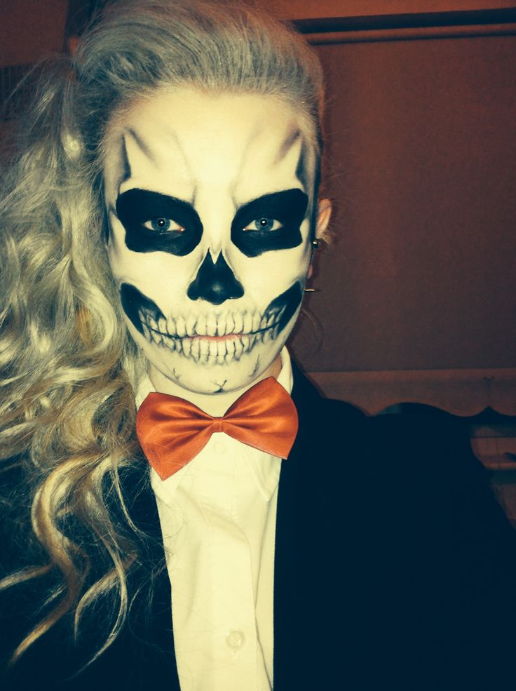 Halloween Makeup, inspired by Lady Gaga. Skull/skeleton makeup