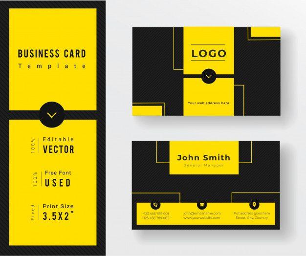 Yellow Black Clean Creative Business Card Template Business Cards Creative Templates Business Cards Vector Templates Business Cards Creative