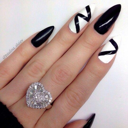 black & white stiletto nails. I love that ring