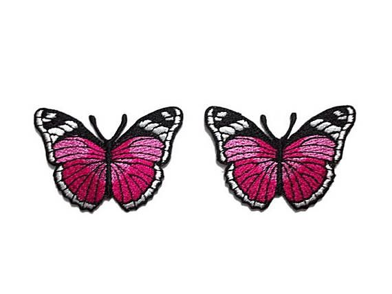 Iron-on / Sew-on Patch: BUTTERFLY  MEASUREMENT: 5 x 3.5 cm. (width x height) approximately  COLOR: Pink /Fuchsia - Magenta, Black-White  QUANTITY: 2 pieces in 1 set  How to iron-on : 1. Garment should be clean and freshly laundered. 2. Set your iron at the high hot temperature. Do not use stream during application. 3. Thoroughly iron area of garment where patch will be placed. 4. Spray a little water before placing the patch on garment, embroidery facing up. 5. Place cloth or light ...