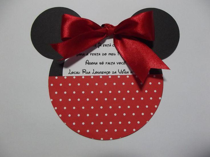 Convite de Aniversário - Minnie    Uma delicadeza de convite.  Posso fazer em outros temas, fica a sua escolha.