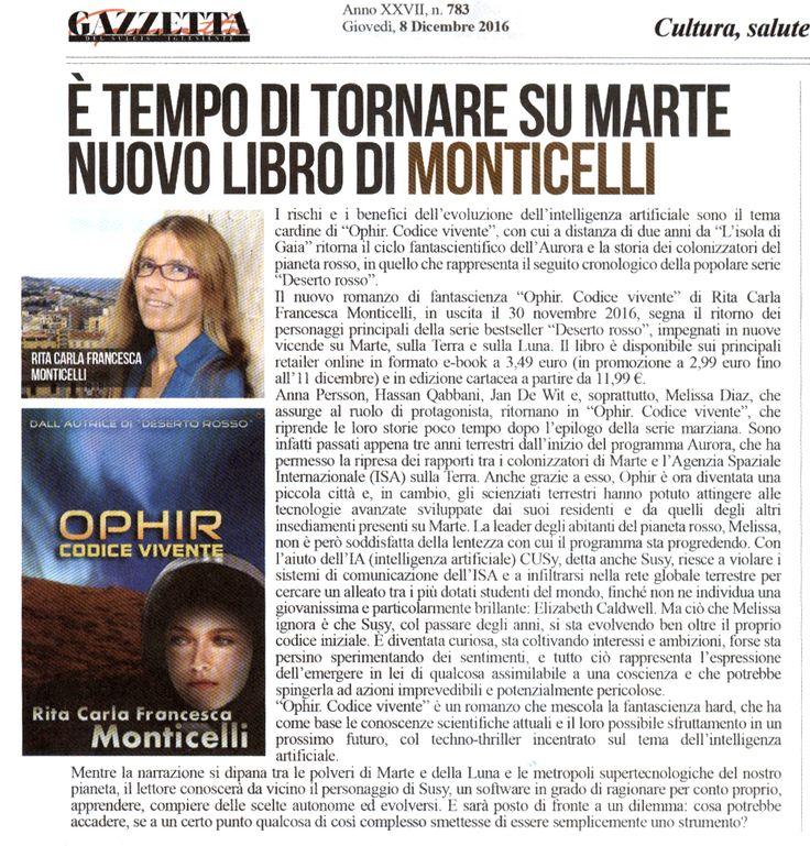 Gazzetta del Sulcis-Iglesiente, 8 dicembre 2016. #Ophir #DesertoRosso