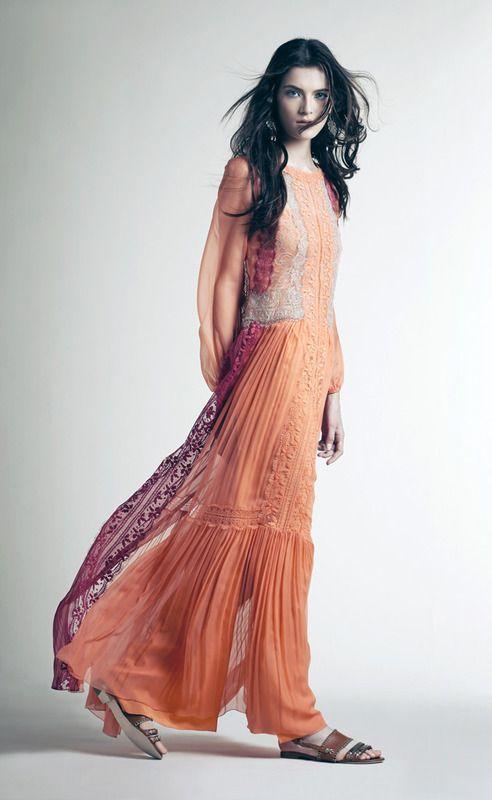Alberta Ferretti Crucero 2015 vestido naranja largo