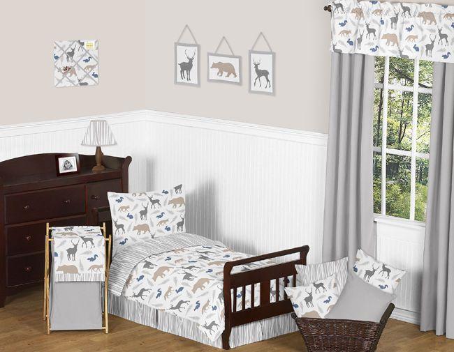 Blue Grey and White Neutral Boys Animal Toddler Size Bedding Comforter Sheet Set | eBay