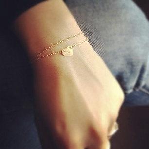 heart initialed layered bracelet.