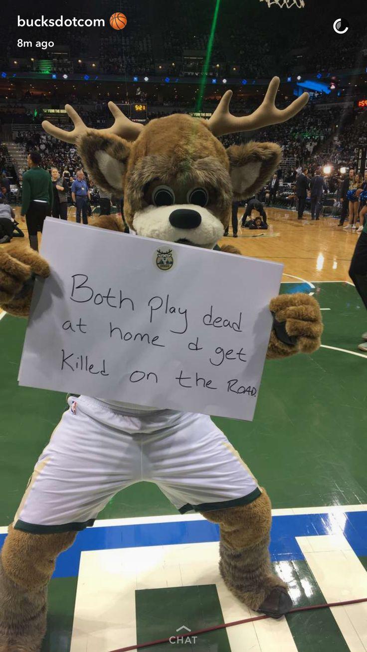 Milwaukee Bucks Mascot destroys Toronto Raptors prior to their NBA Playoff game http://ift.tt/2pR1JMV Love #sport follow #sports on @cutephonecases